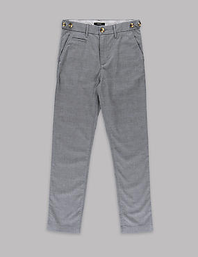 Pure Cotton Checked Slim Chinos (5-14 Years)