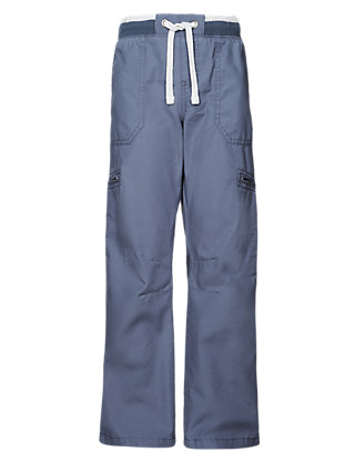 Pure Cotton Pull On Trousers (5-14 Years) Clothing