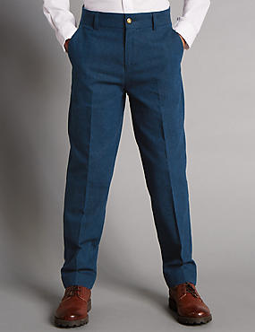 Linen Blend Flat Front Trousers (5-14 Years)