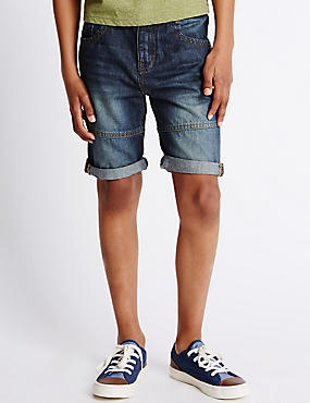 Pure Cotton Denim Shorts (5-14 Years)