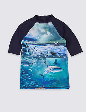 Shark Print Rash Vest (3-14 Years)