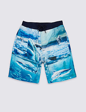Photo Shark Print Swim Shorts (3-14 Years)