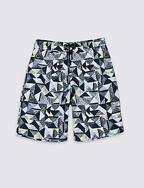 Geometric Print Swim Shorts (3-14 Years)