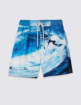 Photographic Print Swim Shorts (3-16 Years), BLUE MIX, catlanding