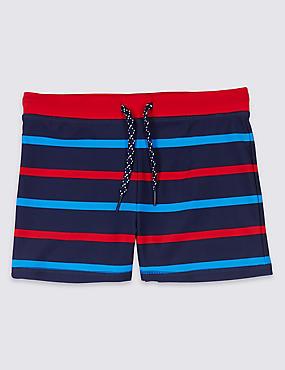 Striped Swim Shorts (3-16 Years), DARK PURPLE, catlanding