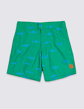 Shark Embroidered Swim Shorts (3-16 Years)