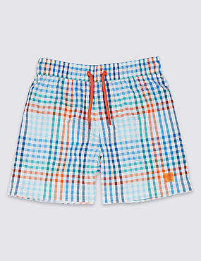 Cotton Rich Checked Swim Shorts (3-16 Years)