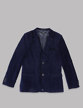 Pure Cotton Long Sleeve Velvet Jacket (5-14 Years)
