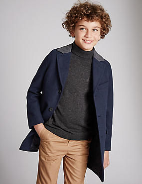 Long Line Coat with Wool (5-14 years)