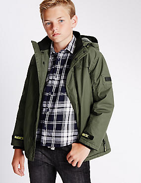 Pure Cotton Long Sleeve Waxed Coat (5-14 Years)