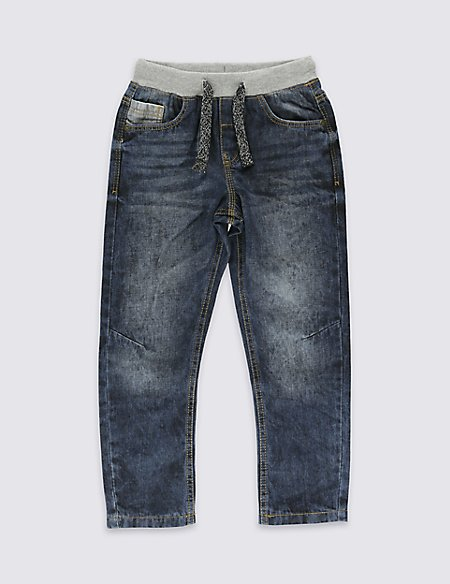 Pure Cotton Pull On Jeans (1-7 Years)