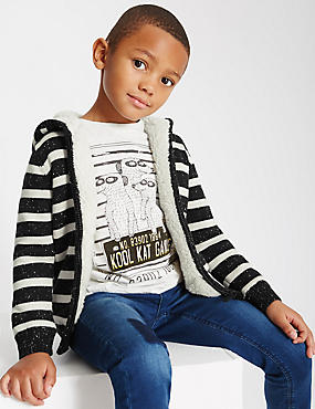 Pure Cotton Striped Hooded top (1-7 Years)