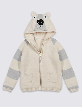 Cotton Rich Zip Through Hooded Top (3 Months - 5 Years)