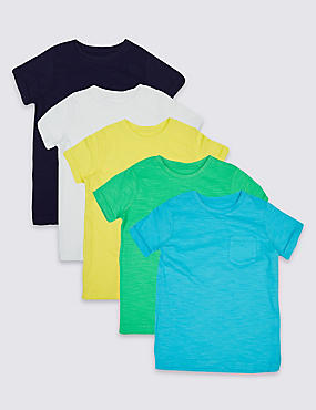5 Pack Pure Cotton T-Shirts (3 Months - 5 Years)