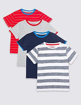 4 Pack Short Sleeve Tops (3 Months - 7 Years), MULTI, catlanding