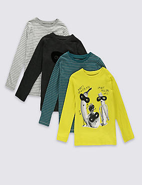 4 Pack Printed & Striped Long Sleeve T-Shirts (1-7 Years)