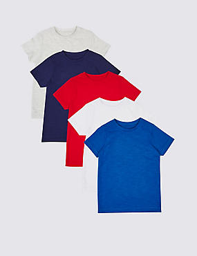 5 Pack Cotton Rich Tops (3 Months - 7 Years), MULTI, catlanding