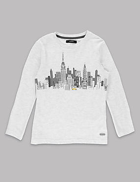 Cotton Rich Long Sleeve Skyline T-Shirt (1-7 Years)