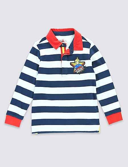 Pure Cotton Fireman Sam™ Striped T-Shirt (1-8 Years)