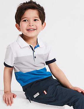 Pure Cotton Striped Polo Shirt (3 Months - 7 Years), BLUE MIX, catlanding