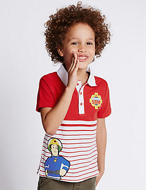 Pure Cotton Fireman Sam™ Polo Shirt (1-8 Years)