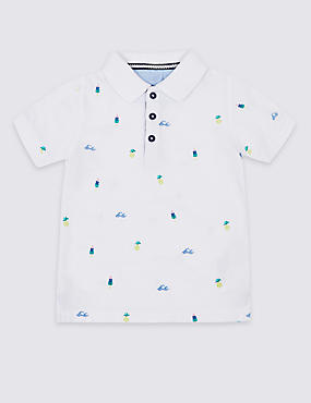 Pure Cotton All Over Print Polo Shirt (3 Months - 7 Years)