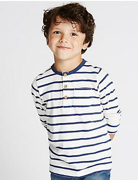 Pure Cotton Long Sleeve Striped T-Shirt (1-7 Years)