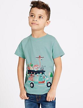 Pure Cotton Animals T-Shirt (3 Months - 7 Years), MUSTARD, catlanding