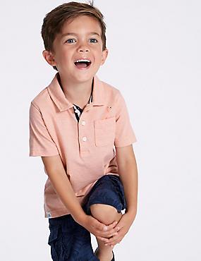 Pure Cotton Polo Shirt (3 Months - 7 Years), INDIGO, catlanding