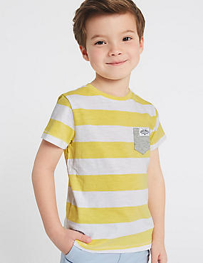 Pure Cotton Striped Top (3 Months - 7 Years), YELLOW MIX, catlanding