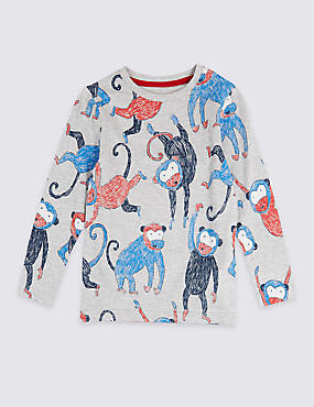 Cotton Rich Monkey Print Top (3 Months - 7 Years)
