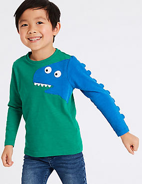 Pure Cotton Dinosaur Top (3 Months - 7 Years), GREEN MIX, catlanding