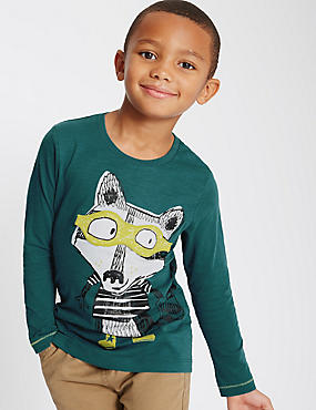 Pure Cotton Fox Print T-Shirt (1-7 Years)