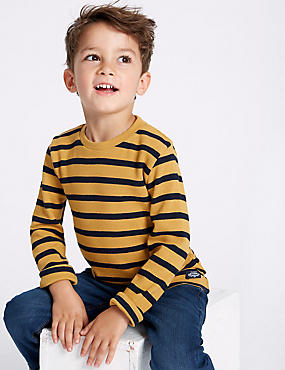 Pure Cotton Striped Top (3 Months - 7 Years), OCHRE, catlanding