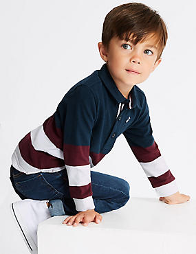 Pure Cotton Rugby Top (3 Months - 7 Years), CLARET, catlanding