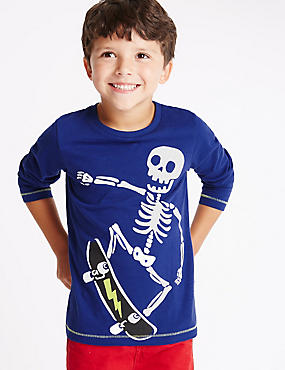 Pure Cotton Long Sleeve Skeleton T-Shirt (1-7 Years)