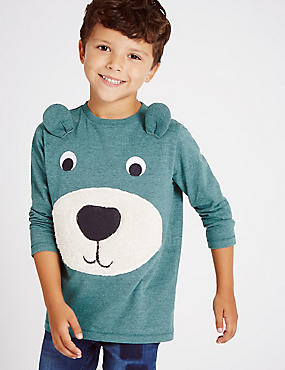 Long Sleeve Bear Appliqué T-Shirt (1-7 Years)