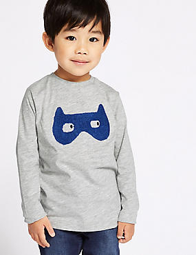 Cotton Rich Mask T-Shirt (3 Months - 7 Years), GREY MARL, catlanding