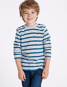 Pure Cotton Striped Top (3 Months - 7 Years), MULTI, catlanding