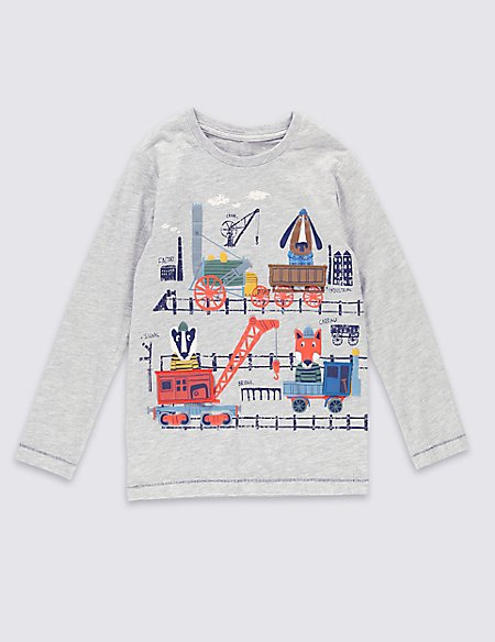 Fox Flap Long Sleeve T-Shirt (1-7 Years)