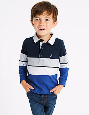 Pure Cotton Rugby Top (3 Months - 7 Years), BLUE MIX, catlanding