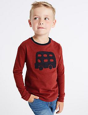 Pure Cotton Bus T-Shirt (3 Months - 7 Years), RUST, catlanding