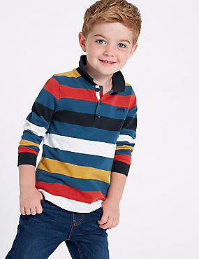 Pure Cotton Striped Polo Shirt (3 Months - 7 Years), MULTI, catlanding