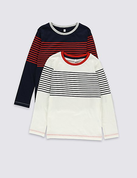 2 Pack Pure Cotton Striped T-Shirts (1-7 Years)