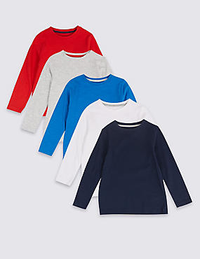 5 Pack Long Sleeve Tops (3 Months - 7 Years), MULTI, catlanding
