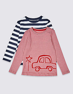 2 Pack Pure Cotton Tops (3 Months - 7 Years), RED MIX, catlanding