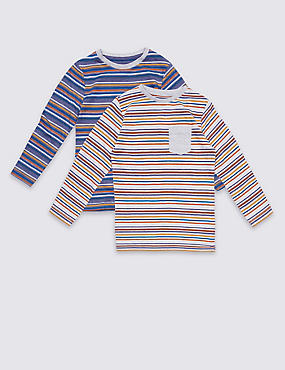 2 Pack Cotton Rich Striped Tops (3 Months - 5 years)