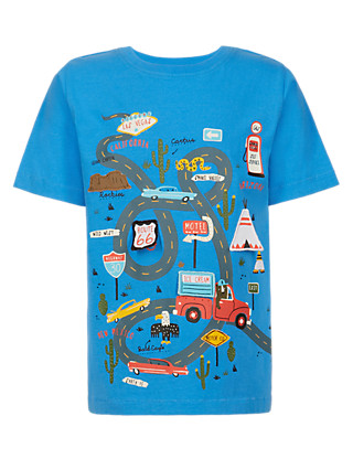 Pure Cotton Road Appliqué Boys T-Shirt (1-7 Years) Clothing