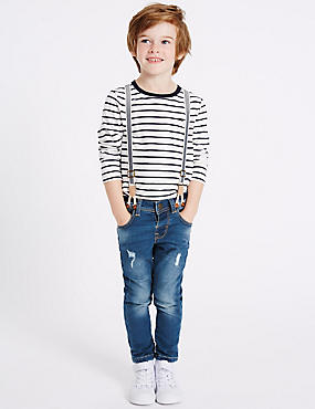 Cotton Rich Jeans with Braces (3 Months - 5 Years)