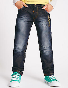 Washed Look Adjustable Waist Denim Jeans (1-7 Years)